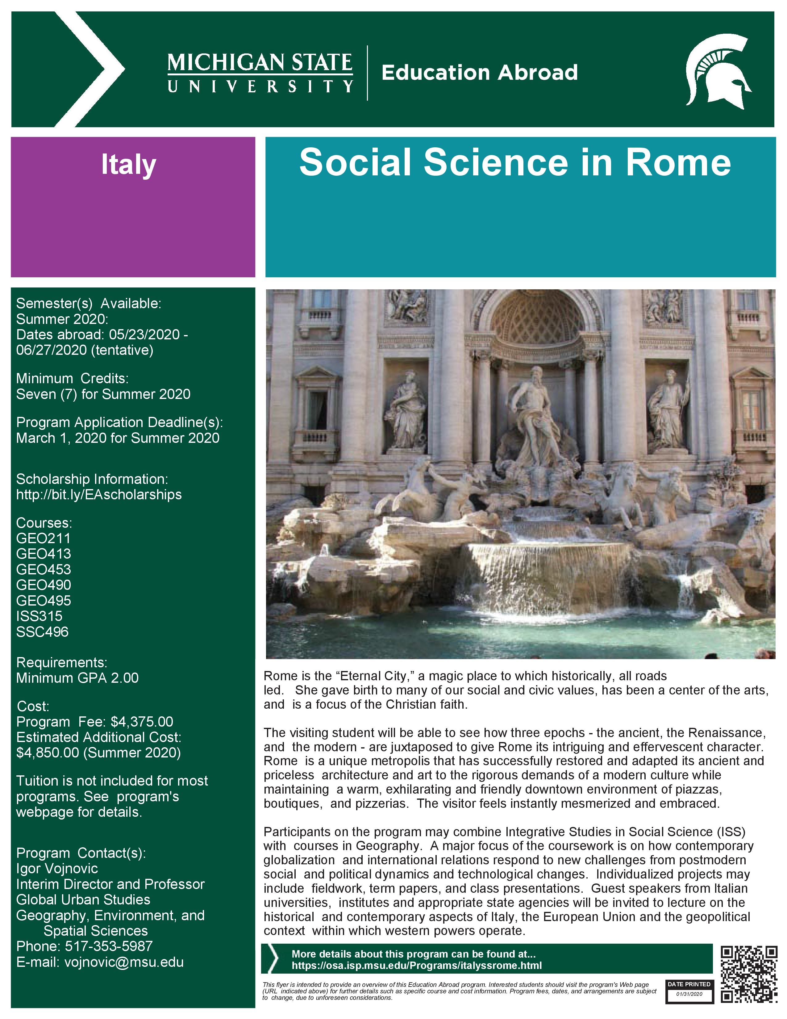 Education Abroad - Social Science in Rome 2020